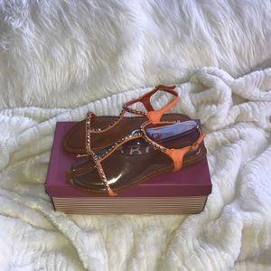 NIB! Orange vegan leather sandals w/ gold studs.